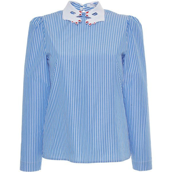 Vivetta Mitilene Striped Shirt with Collar (6.010 ARS) ❤ liked on Polyvore featuring tops, blue, blue top, collar top, blue stripe shirt, full sleeves tops and blue striped shirt