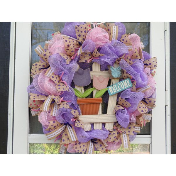 Welcome Spring/Summer Deco Mesh Wreath ($89) ❤ liked on Polyvore featuring home, home decor, tulip wreath, burlap ribbon wreath, spring mesh wreaths, spring home decor and butterfly home decor