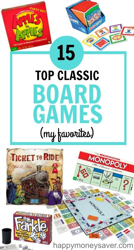 Board games make the best gifts and this is the BEST LIST EVER.   15 Best classic board game list for families. My favorite is Ticket to Ride, its so much fun!   happymoneysaver.com