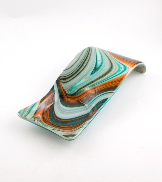Unique Fused Glass Spoon Rest Modern Design by Nostalgianmore