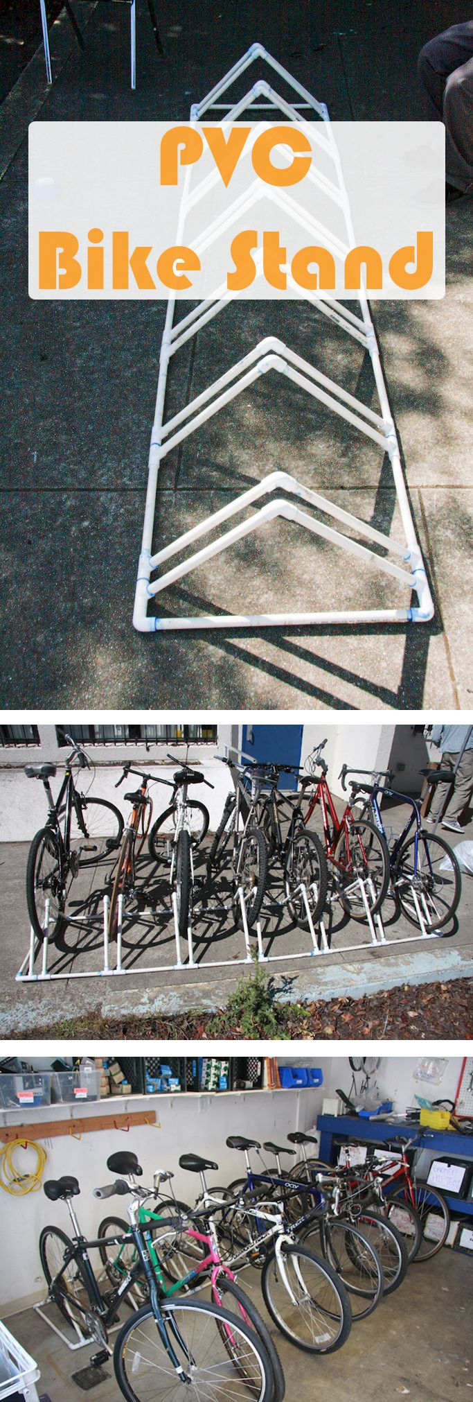 PVC is so versatile. Make a bike rack that holds 7 bikes using some PVC piping!