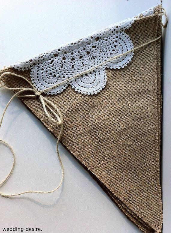 Burlap Banner DIY Kit Burlap Pendants Natural Jute Burlap Fabric Pennants Banner…