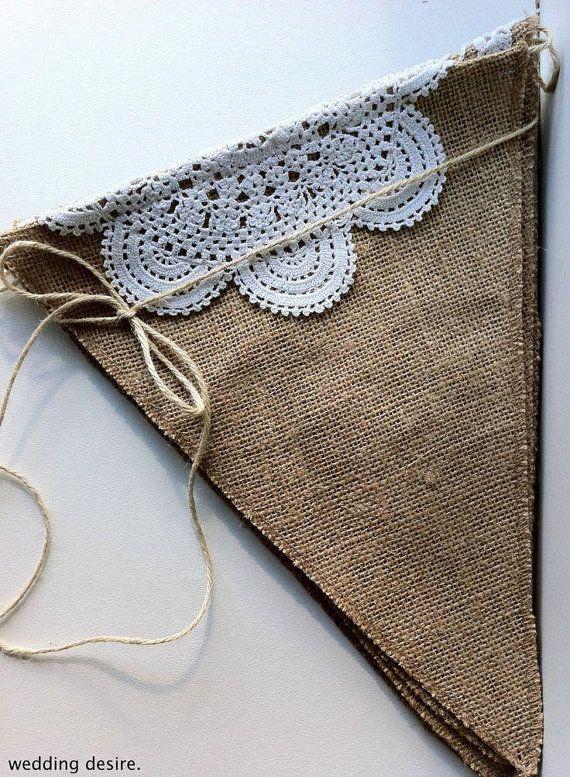 Burlap Banner DIY Kit Burlap Pendants Natural Jute Burlap Fabric Pennants Banner…