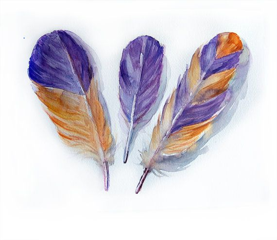 Watercolor painting original-Feather painting by watercolors-Watercolors feathers in violet and orange-Wall art-Home decor    The paper size-27/37 cm  10.5/14.5 inches  Paper is 300 gsm Fine Art Paper    watercolor is unmatted and unframed.    *ORIGINAL ART* *WATERCOLOR* *FINE ART*