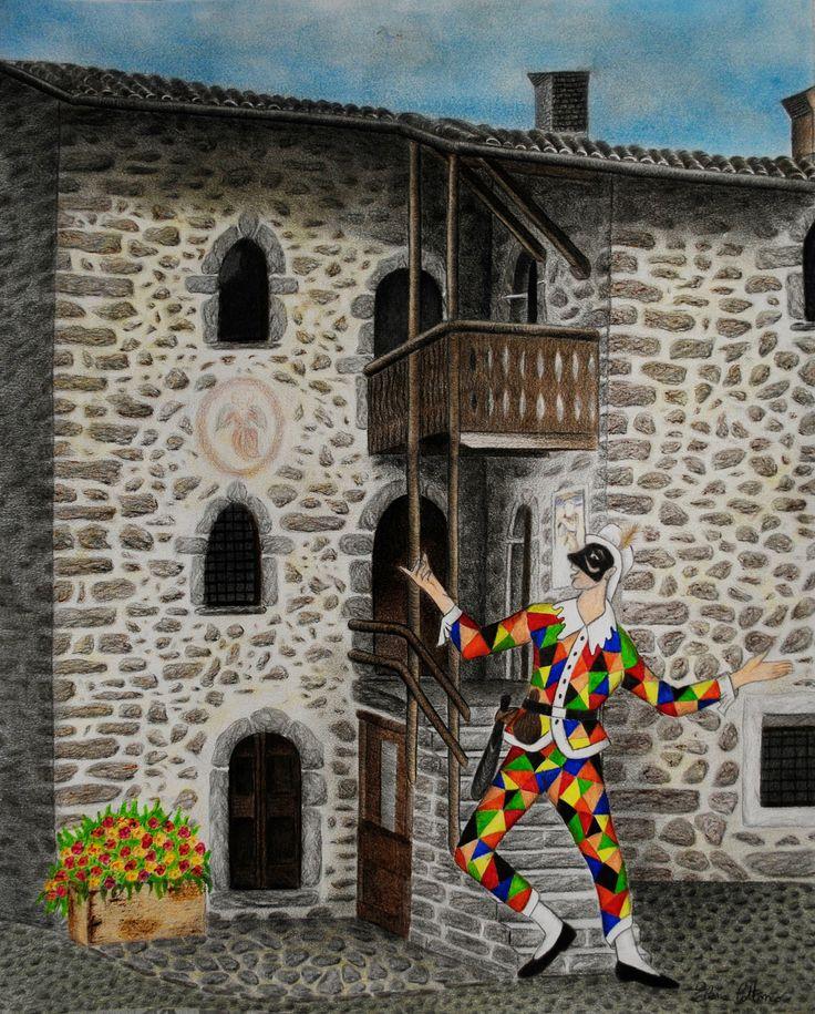 Arlecchino e la sua casa.. disegno realizzato con pastelli, carboncino e pastelli acquarellabili.  (40 x 50)