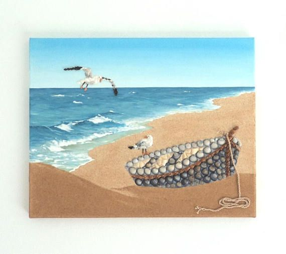 Acrylic Painting Beach Artwork with Seashells and Sand Boat