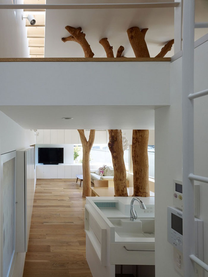 Contemporary Japanese Home with Real Trees in The Structure