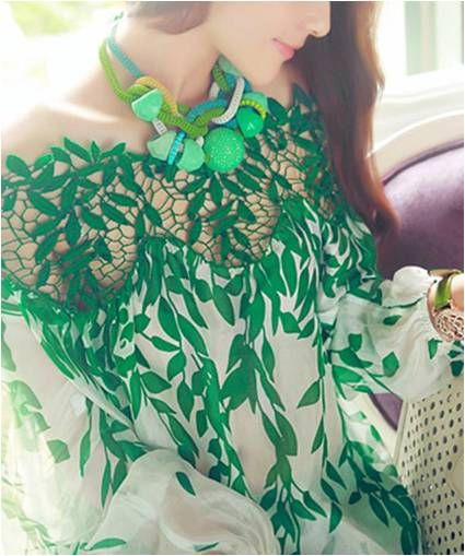White Chiffon Top with Green Leaf Detail - Code Women
