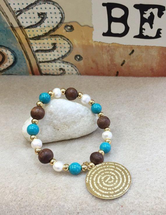 Semiprescious stone bracelet AP1123 padre nuestro by Alquimiainc