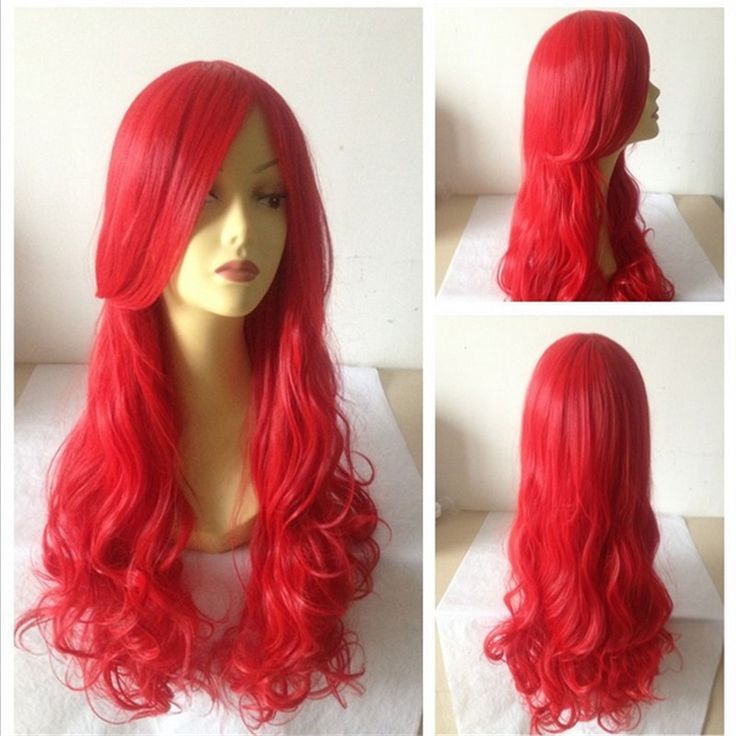 fashion daily little mermaid wig 70 cm hair long red wig curly women wigs natural heat resistant synthetic wigs ombre cosplay