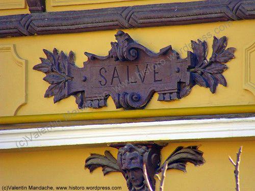 Doorway greeting from La Belle Époque, Bucharest