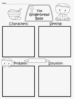 FREE: The Gingerbread Baby Story Map: Elements Of A Story...based off of the story by Jan Brett. Character, Setting, Problem, Solution...Freebie For A Teacher From A Teacher :) fairytalesandfictionby2.blogspot.com