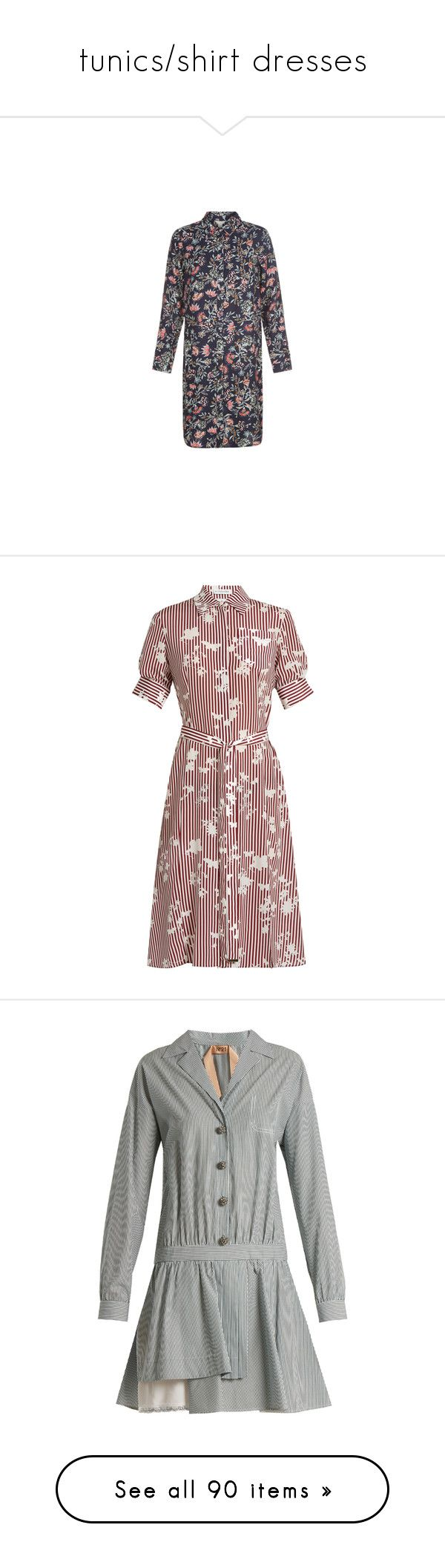 """""""tunics/shirt dresses"""" by stacy-hardy ❤ liked on Polyvore featuring dresses, long sleeve shirt dress, floral shirt dress, floral pattern dress, button shirt dress, long sleeve dress, flared shirt dress, stripe dresses, stripe shirt dress and altuzarra dress"""