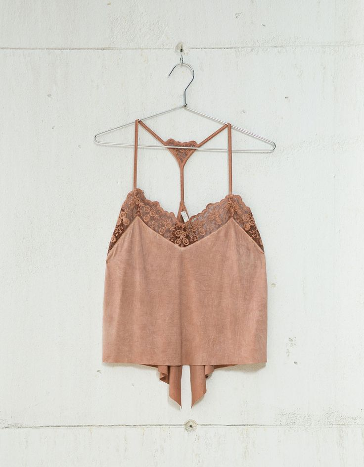 Embroidered tulle lingerie top - Shirts - Bershka Croatia