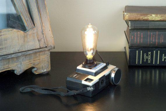 Vintage Instamatic Camera Lamp   Upcycled Camera Lamp   Desk Lamp U2013 Vintage  Upcycled Camera Lamp U2013 Unique Desk Light U2013 Unique Tabel Light | Vintage, ...