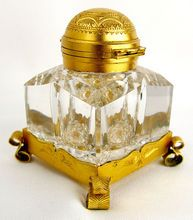 Antique Partner's Inkwell Cut Glass Gilt Mounts Betjemann's Patent Lid. On sale at RL for $440.00.