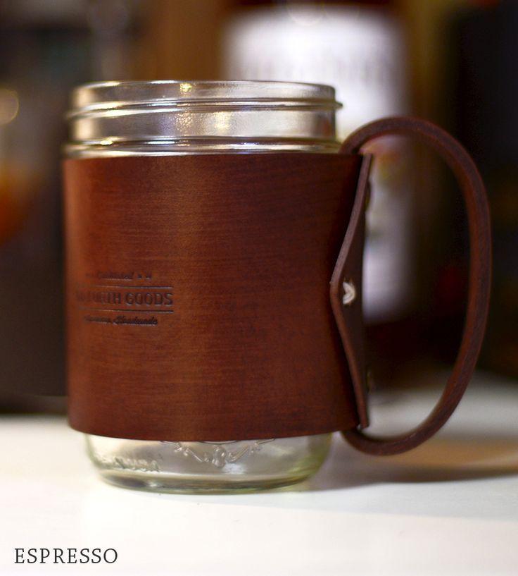 Coffee ritual mason jar mugs cold drinks products leather handles