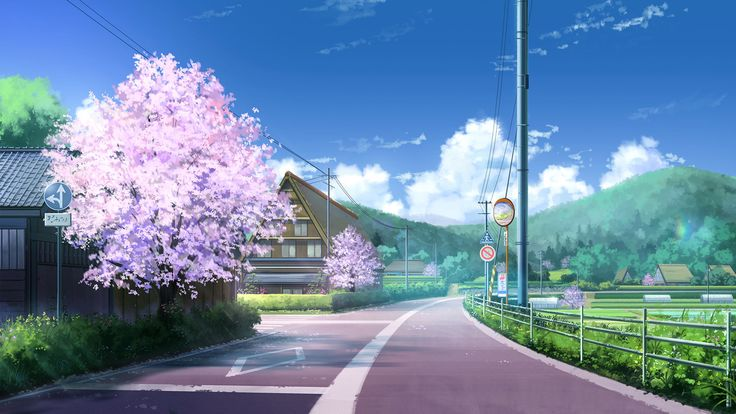 Anime Original  Wolke Landschaft Himmel Baum Haus Straße Wallpaper