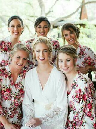 White floral Bridesmaid robes for your bridal party