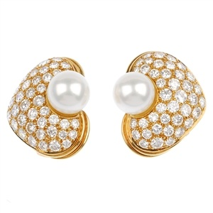 A pair of cultured pearl and diamond ear clips