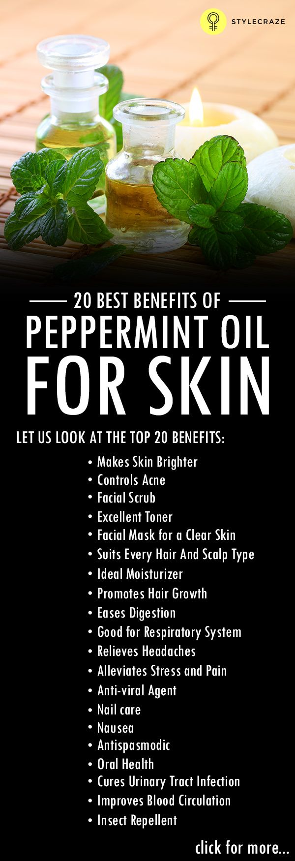 Peppermint oil is an essential oil that has many skin, hair and health benefits! Here is a list of the most effective uses.