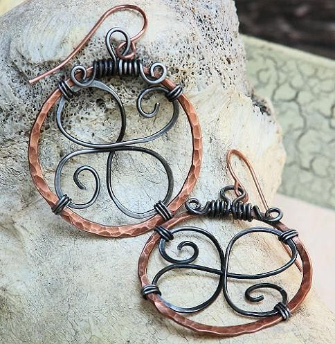 Artisan Celtic Hoop Earrings Wire Wrapped Mixed Metal Hammered Copper | OwlHollowStudio - Jewelry on ArtFire