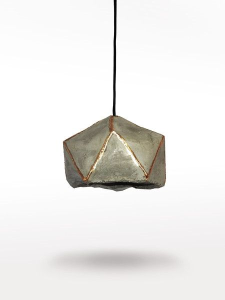 Ceiling Lights – Concrete lamp with golden edges – a unique product by LumiLamp on DaWanda