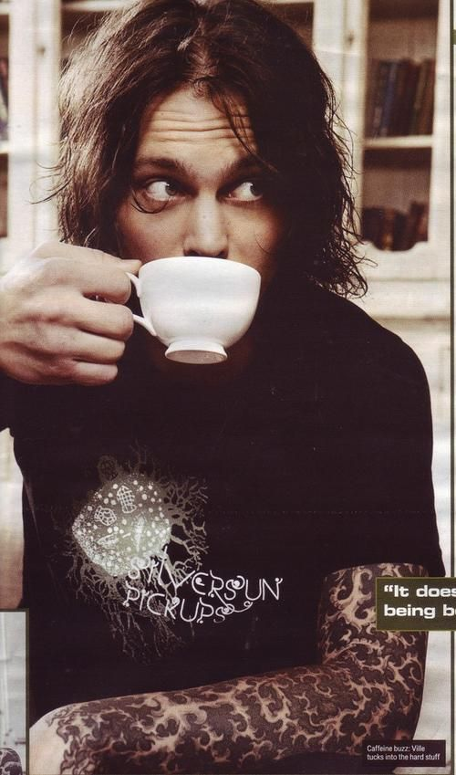 Ville Valo... drinking tea. This fits in this board, 100%... #dontjudgeme