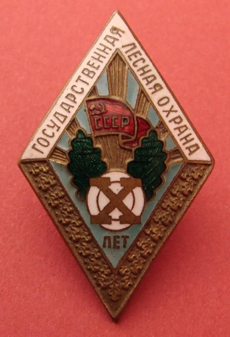 Collect Russia Badge for 10 Years of Irreproachable Service with the State Forestry, circa 1950s. Soviet Russian