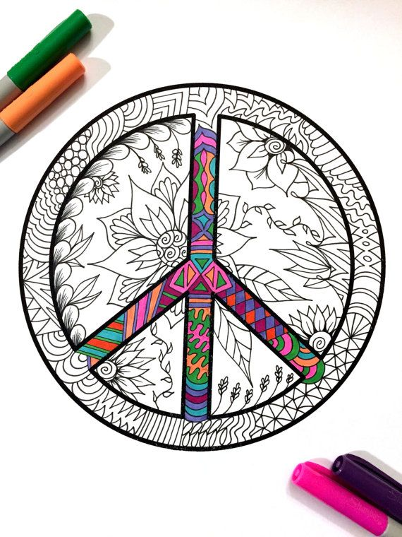 Peace Sign with flowers and leaves PDF Zentangle Coloring Page by DJPenscript on Etsy