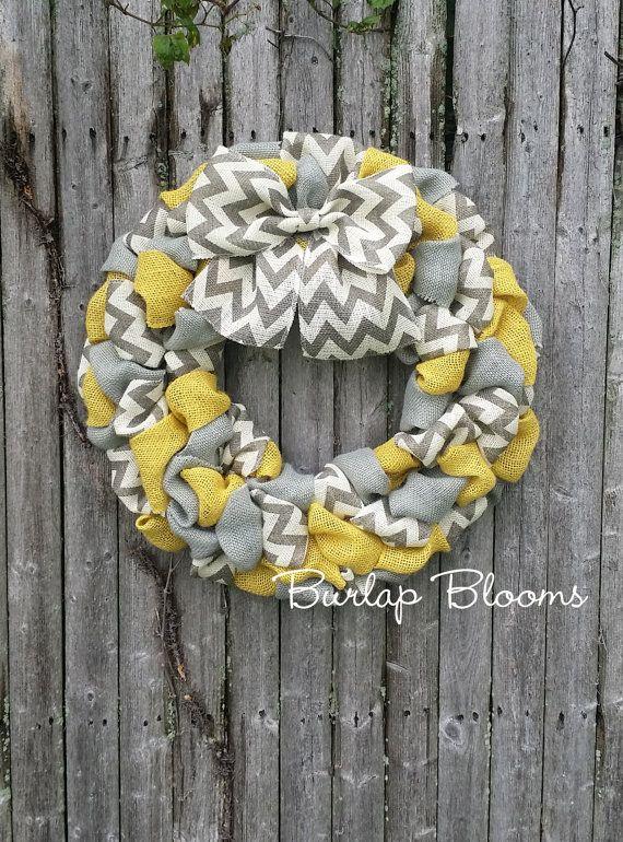 Chevron Wreath Burlap Wreath Year Round Wreath by BurlapBlooms