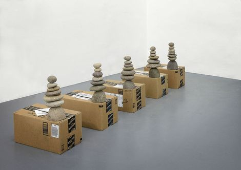 Daniel #Keller, AmazonGlobalPriority Cairn Unit 2, 2013 , Ancient Graffiti® river-stone cairns made in Honduras, original amazon.com shipping boxes / pietre di fiume impilate Ancient Graffiti® fatte in Honduras, imballaggio originale di spedizione amazon.com, Dimensions variable, Unique