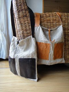 Hand Stitched Leather X Linen Shoulder Bag | by Asaborake