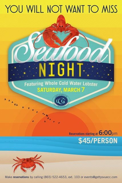 seafood night poster template