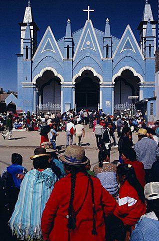 Locals gathering ata church, Puno, Peru, South America