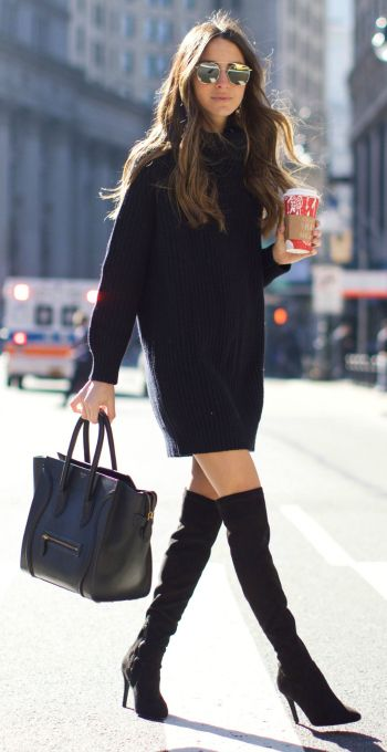 Arielle Nachami + couldn't look sleeker + all black outfit + knitted sweater dress + thigh high boots + matching leather bag + pair of shades + fabulous style.   Dress: Saks Fifth Avenue, Boots: Neiman Marcus.