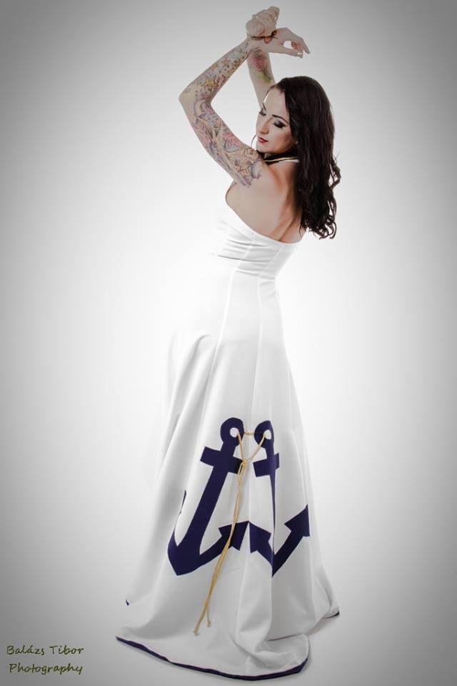 Photo: Balàzs Tibor Model: Stampfné Tímea Make-up: Ivett Orosz Fészek stúdió Dress : TiCCi Rockabilly Clothing anchor dress sailor wedding wedding dress pinup sailor dress