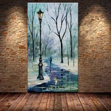 100% Ручной Росписью зима речной Пейзаж маслом мастихином картина стены искусства для украшения(China (Mainland))