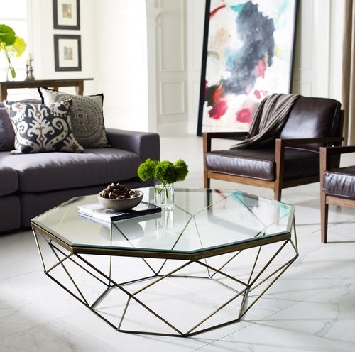 Geometric Antique Brass Coffee Table With Glass Top Geometric Coffee Table Glass Table Living Room Coffee Table