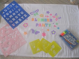 Slumber party favor to take home - create and design your own pillowcase.
