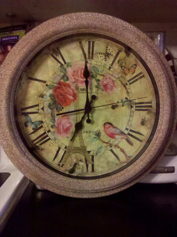 Clock...To This / Decoupage with a bit of paint touch up.