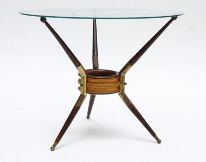 A Decò occasional table, wood, brass and glass, 1940 - Uso Interno