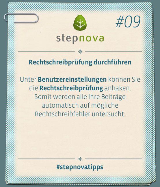 Rechtschreibprüfung durchführen, damit sich keine Rechtschreibfehler einschleichen. #stepnovatipps #Software #Dokumentation #BeruflicheBildung #Maßnahme #stepnova