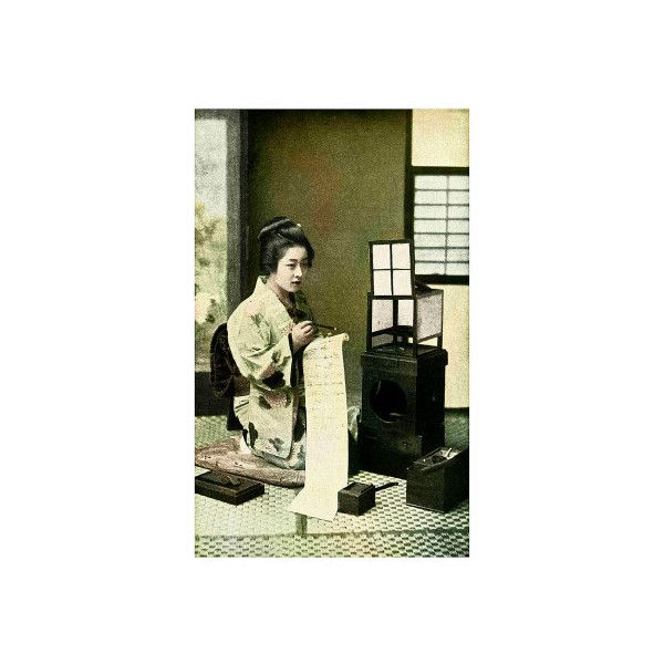 Japanese Geisha Writing Letter Giclee Print Wall Art (2.275 RUB) ❤ liked on Polyvore featuring home, home decor, wall art, asian cultures, asian people, japanese people, subjects, world cultures, typography wall art and calligraphy wall art