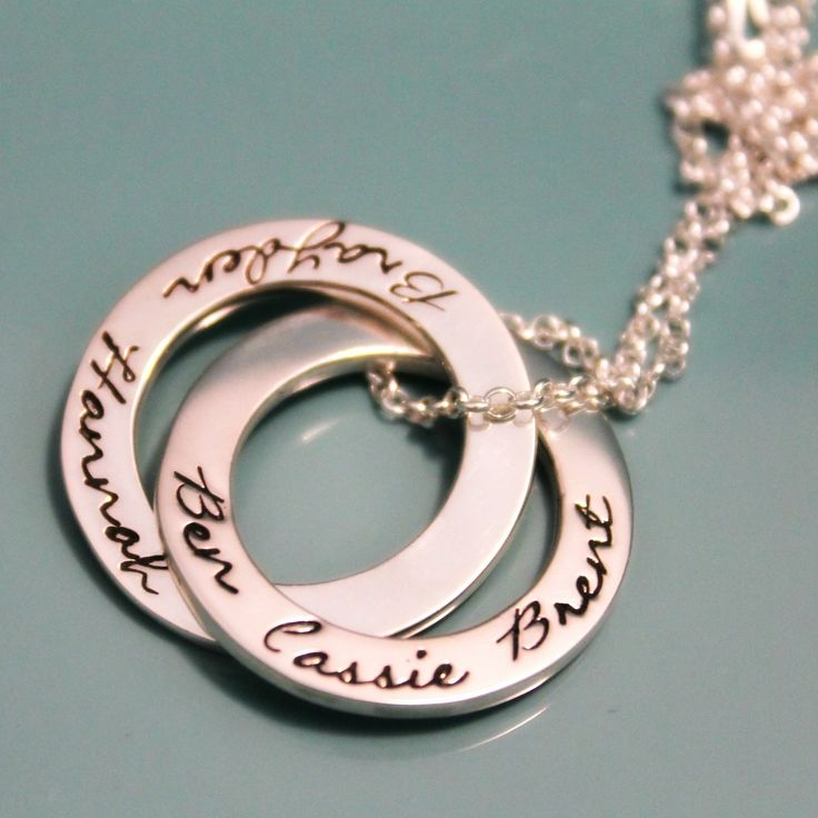 Available at www.mrsfickle.com Personalised jewellery hand stamped jewellery Silver linked loops