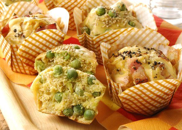 ベーコン・オニオンとセサミ・グリーンピースのカップケーキ (レシピNo.1926)|ネスレ バランスレシピ  http://p.nestle.jp/pint_recipe/