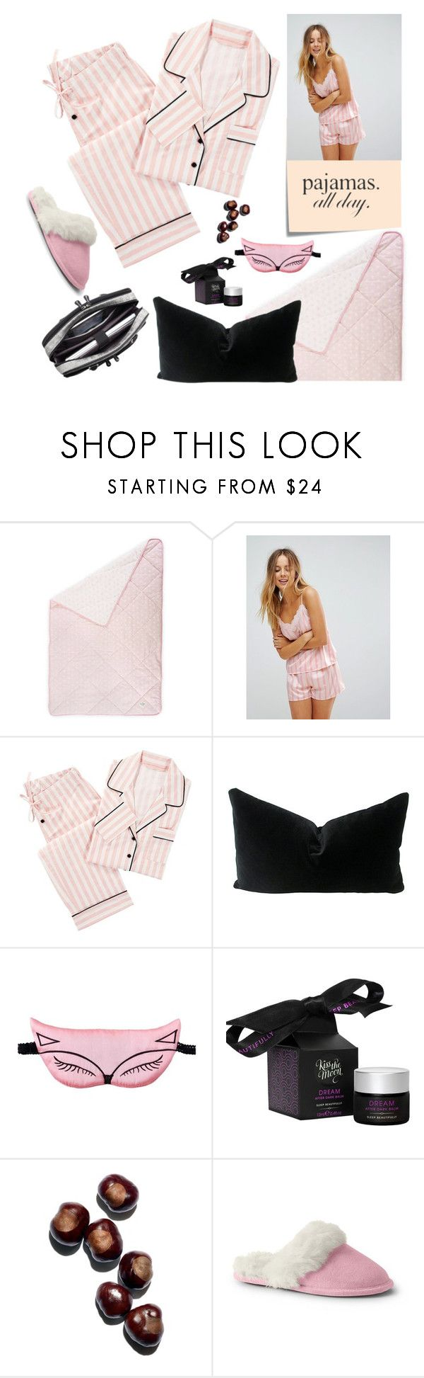 """""""Pajamas All Day"""" by manaaw ❤ liked on Polyvore featuring Post-It, Loungeable, PBteen, Kiss the Moon, Lands' End, Mobile Edge and LovelyLoungewear"""