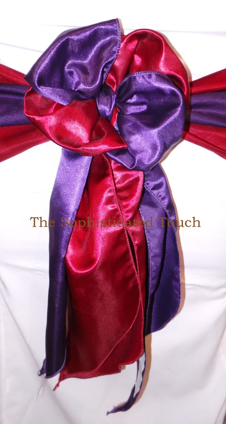 Cadburys Purple and Claret Satin Double Bows.    The Sophisticated Touch ... Chair Covers by Design