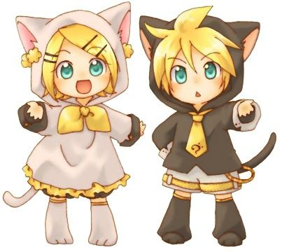 Rin (right) and Len (left) dressed up as cats!