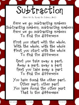 Here's a song for helping students learn the parts of a subtraction sentence.